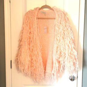 Jackets & Blazers - BNWT pink knit fringe jacket